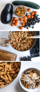 Steps of masking Red Pesto Pasta with Roasted Veggies, from vegetables and red pesto to finished dish with shredded parmesan