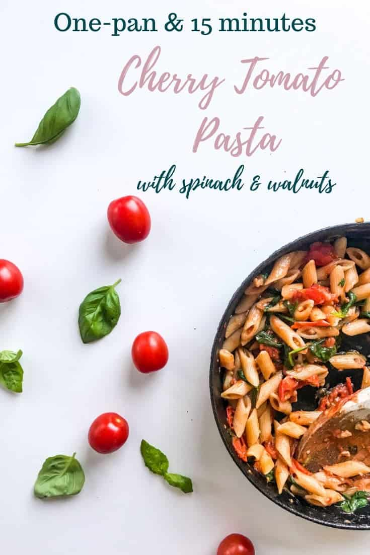 15-minute One-pan Cherry Tomato Pasta with Spinach and Walnuts is delicious and full of flavor, yet quick and easy to make - all in one pan. Perfect for a vegetarian or vegan weeknight treat, but tasty enough for a weekend dinner party. #alwaysusebutter #onepan #quickrecipe #easyrecipe #onepanrecipe #vegan #vegetarian #cherrytomatoes #tomatosauce #pastapomodoro