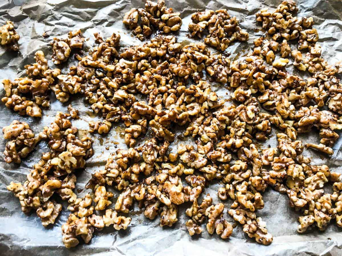 Candied walnuts for Cinnamon Buttered Apples & Salty Candied Walnuts with Vanilla Ice Cream