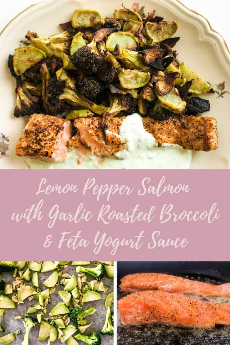 Get your Omega-3 & vitamin booster game on with this delicious, easy & healthy dish! Delicate salmon seasoned with lemon pepper and seared until almost cooked through, served with yummy garlic roasted broccoli and topped offwith a fresh & always delicious feta yogurt sauce. #alwaysusebutter #salmon #healthy #easyrecipe #healthyrecipe #broccoli #feta #yogurtsauce