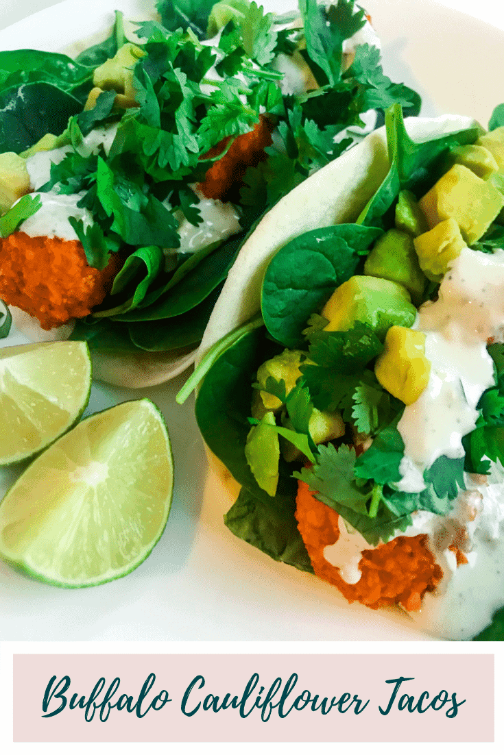 Buffalo Cauliflower Tacos - Put two of the world's best things together and make it vegetarian - and there you have these easy, spicy and delicious Buffalo Cauliflower Tacos. Added bonus: the blue cheese sauce is the best I've ever had! #alwaysusebutter #buffalocauliflower #buffalocauliflowertacos #tacos #vegetarian #vegan #snack