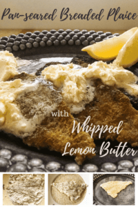 Pan-seared breaded plaice with whipped lemon butter