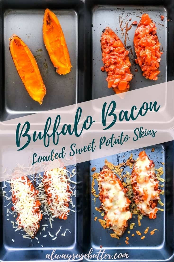 Buffalo Bacon Loaded Sweet Potato Skins are a deliciously indulgent and easy-to-make treat, filled with bacon drenched in buffalo sauce, baked with cheese on top and topped with the very best blue cheese sauce. Just perfect for game day! #alwaysusebutter #buffalobacon #buffalosauce #loadedsweetpotatoskins #recipe