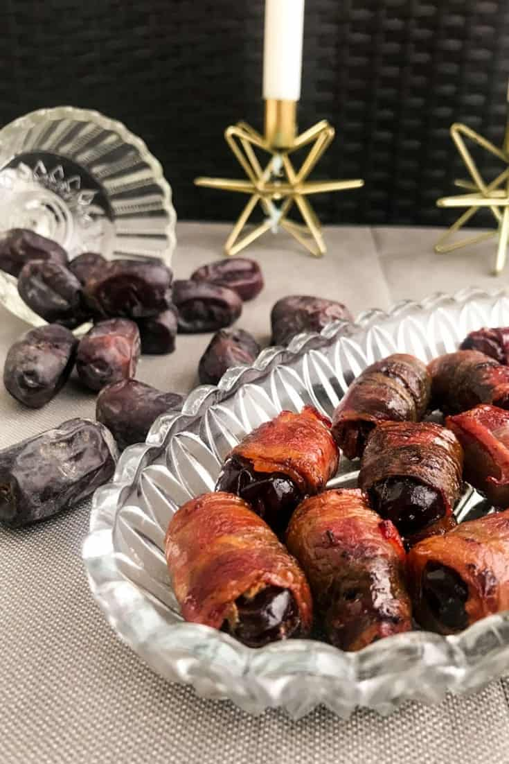 These Easy Bacon Wrapped Dates will be the star of any dinner party or tapas spread - sweet & salty and just the right size, there's just never enough of them! Perfect for your Christmas table or as a New Year's Eve appetizer. #alwaysusebutter #bacon #dates #appetizer #snack #christmas #newyearseve #holidays