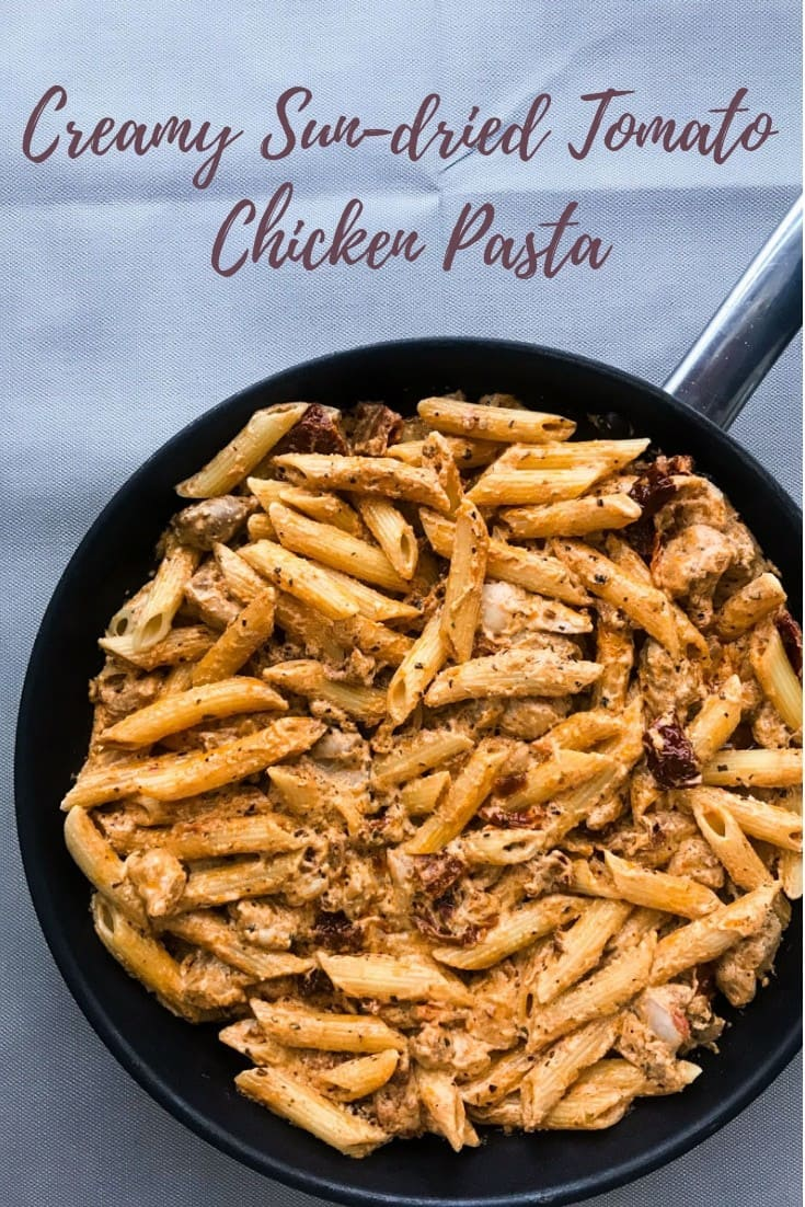 Creamy Sun-Dried Tomato Chicken Pasta with Crème Fraiche is quick & easy to make and full of flavor - perfect for a Friday night! #alwaysusebutter #cremefraiche #sundriedtomatoes #pasta #quick #easy