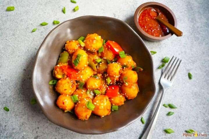 garlic chili potatoes in a bowl