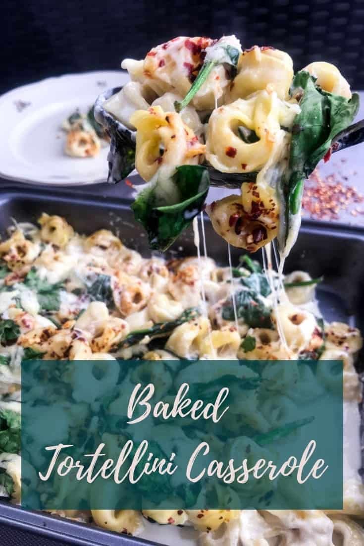 Baked Tortellini Casserole is easy & quick to make and mainly cooks itself, with very little prep. One of the best weeknight dinners & easy to make vegetarian! #alwaysusebutter #spinach #pastacasserole #recipe #tortellini #easy #quick