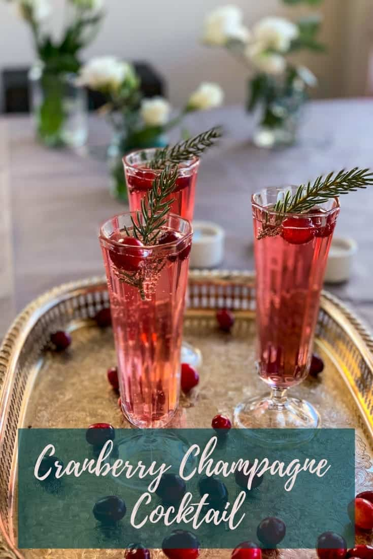 A Cranberry Champagne Cocktail is the perfect holiday cocktail - luxuriously sparkling, just the right amount of sweet and with a nice kick from the gin. #alwaysusebutter #cocktail #holidays #christmas #cranberryspritz