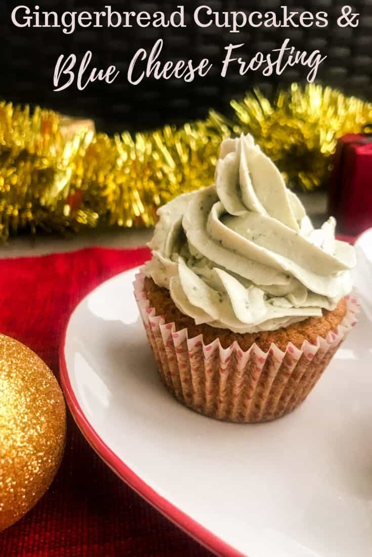 Gingerbread Cupcakes & Blue Cheese Frosting are the perfect mix of sweet & savory and just as perfect as hors-d'oeuvres as for dessert. #alwaysusebutter #cupcakes #holidayrecipes #christmasrecipes #bluecheese #creamcheesefrosting #gingerbread