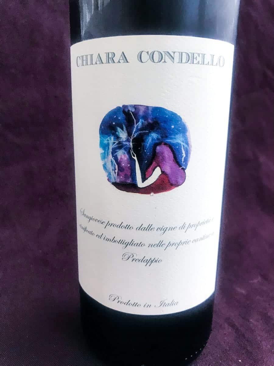 a bottle of chiara condello red wine