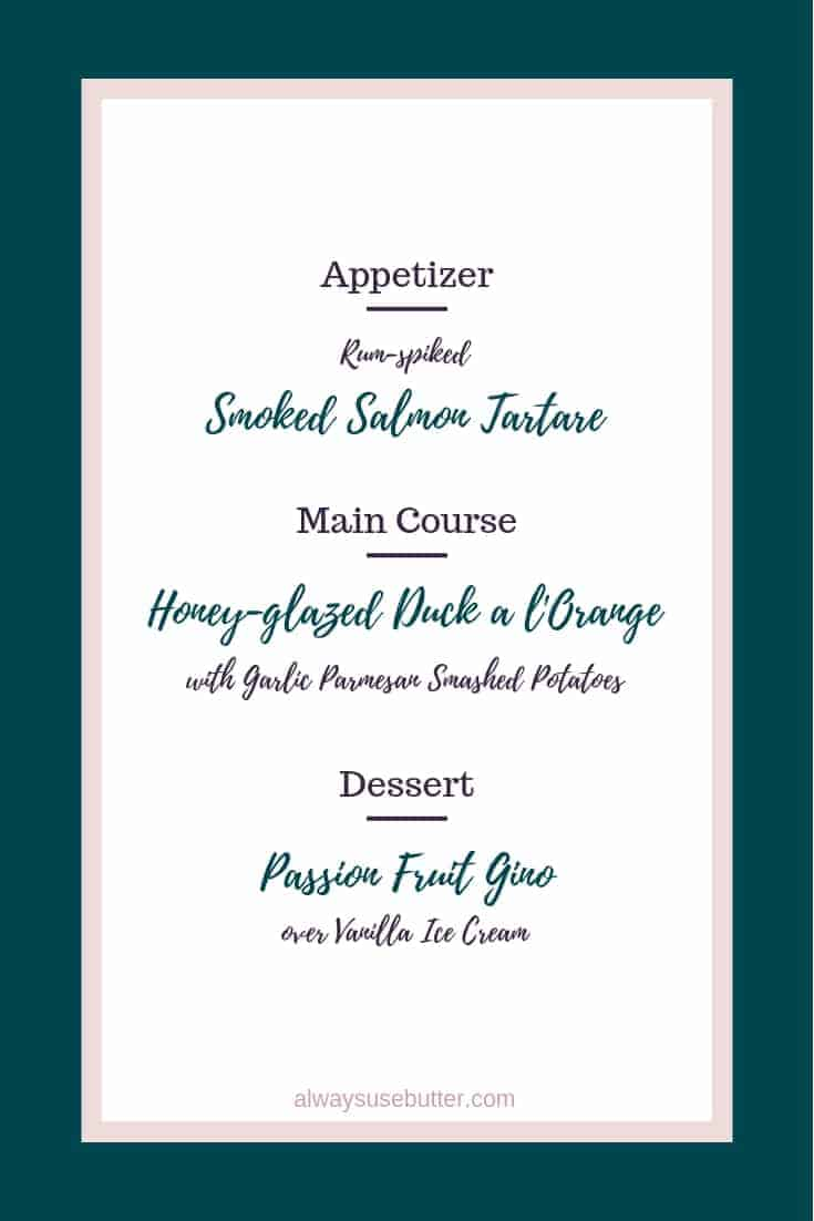 The 2018 New Year's Eve Menu