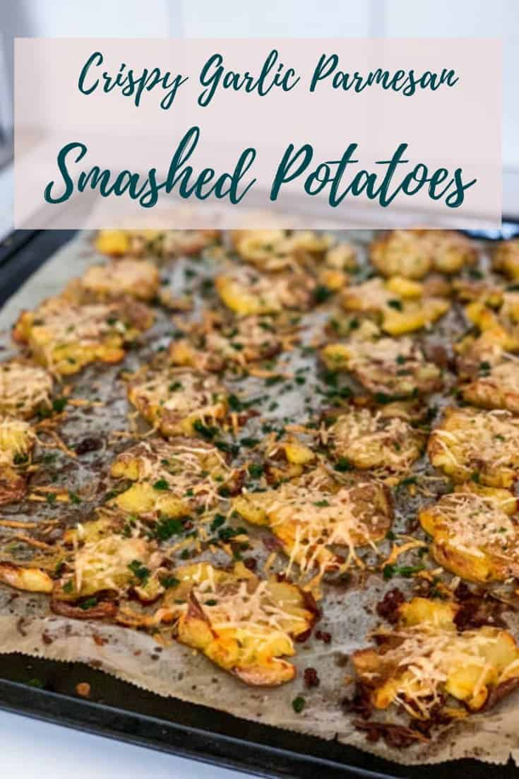 These Crispy GarlicParmesan Smashed Potatoes are perfectly crispy and indulgently covered inbutter & cheese, the best tasty side for steak, duck, chicken or basically anything. #alwaysusebutter #smashedpotatoes #sidedish