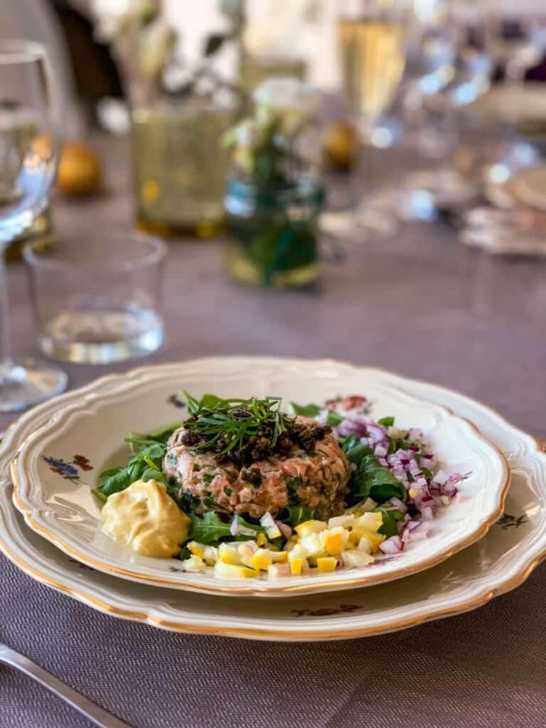 salmon tartare on a plate
