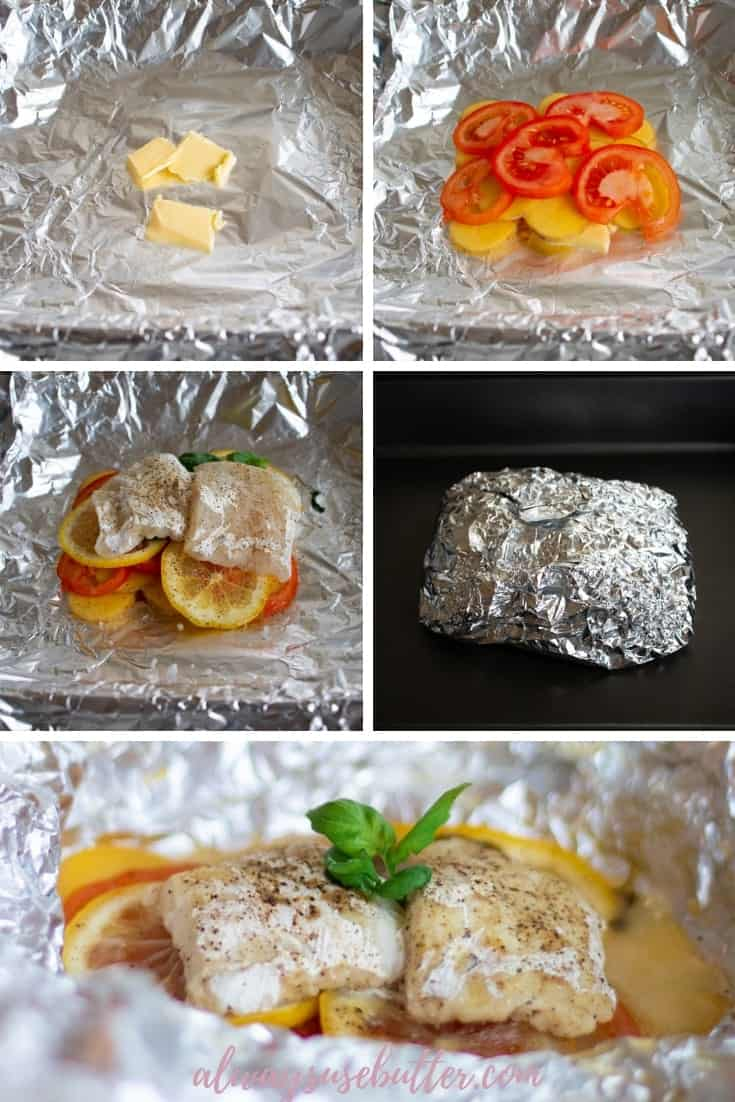 Foil packet cod with tomatoes, potatoes and lemon is a quick, easy & healthy dinner that takes less than 5 min to prep and then cooks itself in the oven. #alwaysusebutter #foilpacketdinner #quickdinner