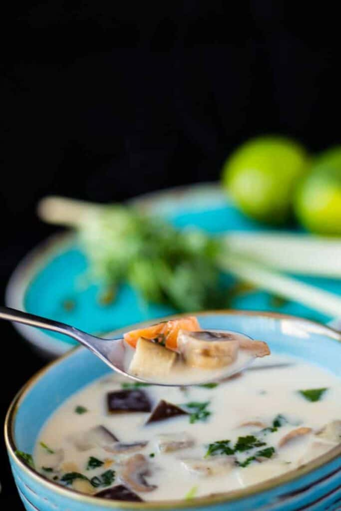 close up side view of thai ginger coconut soup with a spoonful of soup