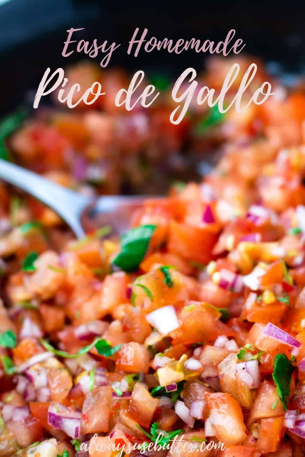 Pico de Gallo Salsa is healthy, easy to make & packed with flavor and just the right amount of spice. Use it for tacos, fish, meat or for tortilla chips! #picodegallo #alwaysusebutter