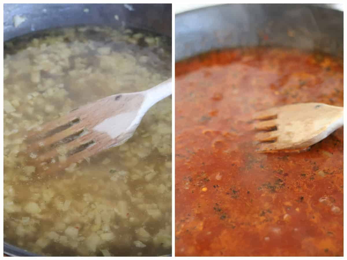 two pictures showing how to make the sauce base for vegan lentil soup