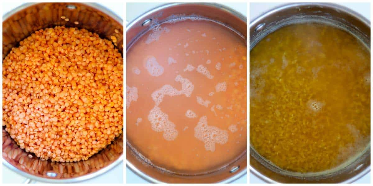 three pictures of lentils: from left to right soaked & drained lentils, lentils covered in water and cooked lentils