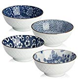 Y YHY Ceramic Cereal/Soup/Salad Bowls, 16oz Japanese bowls, Set of 4 Assorted Designs, Blue and White