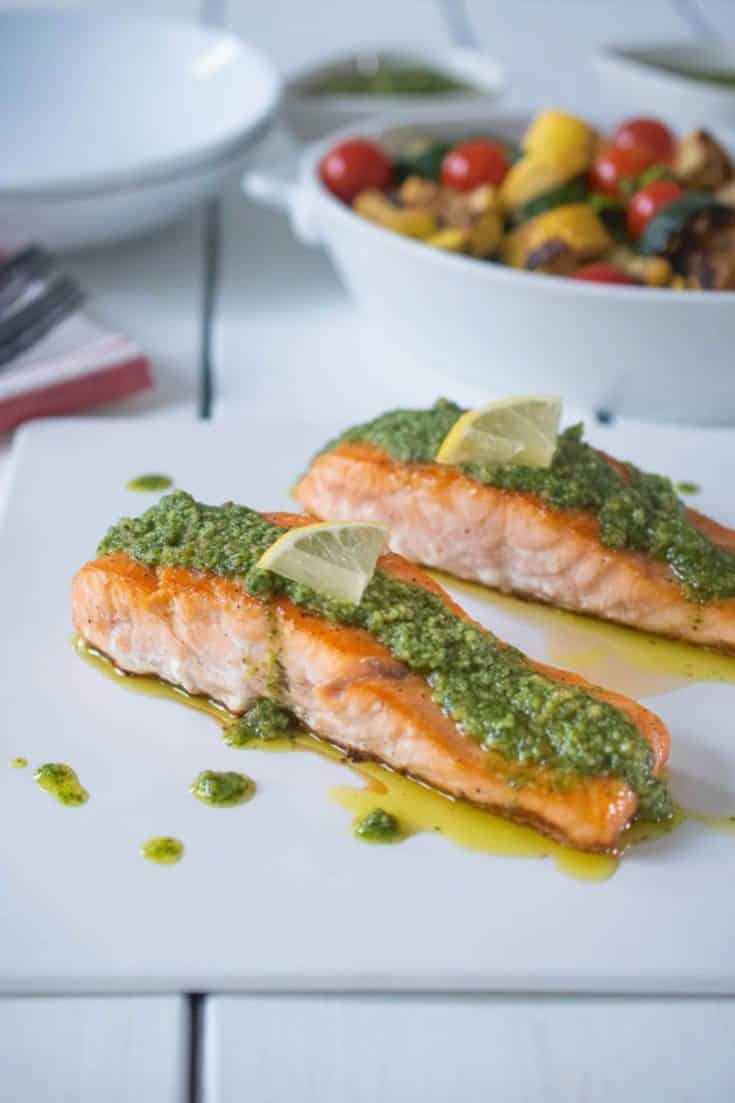 MEDITERRANEAN LEMON PESTO SALMON