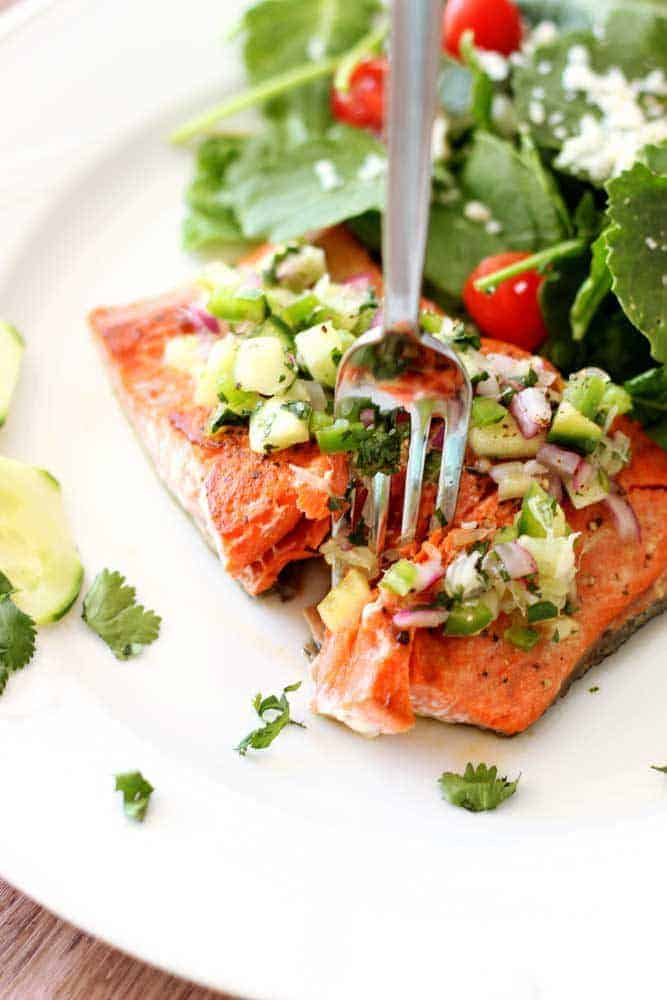 Pan-Seared Salmon With Cucumber-Lime Salsa