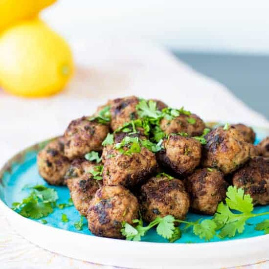 lamb meatballs on a plate