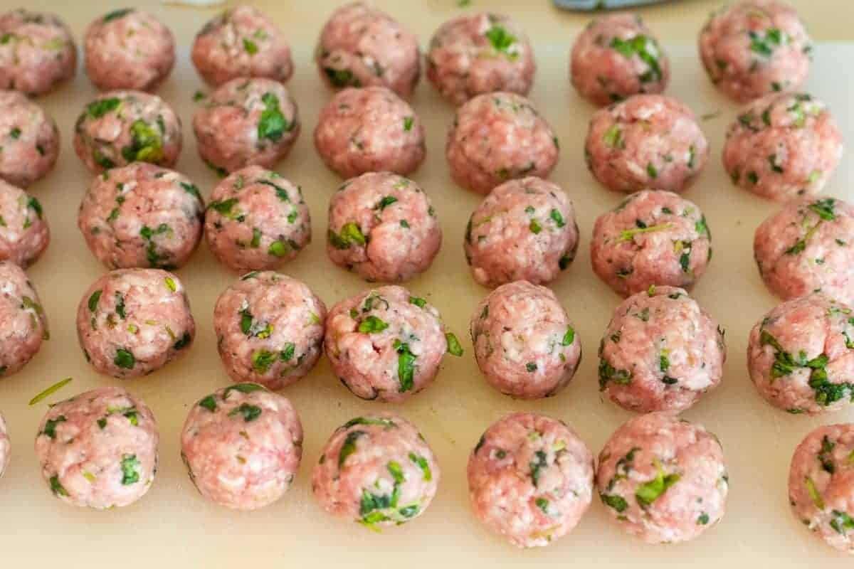 lamb meatballs before cooking