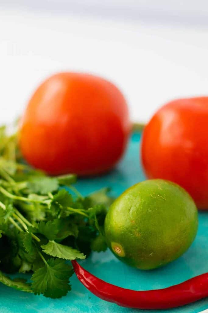 side view of two tomates, one lime, cilantro and a chili