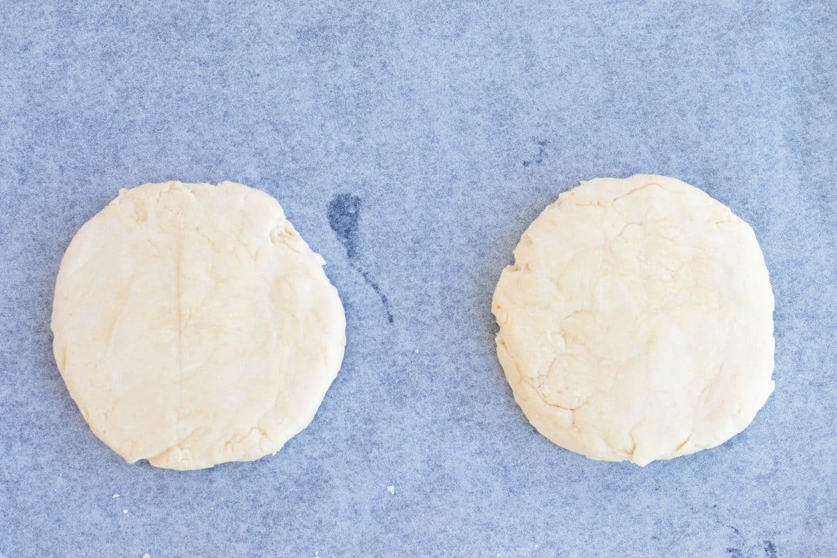 two flattened balls for scones
