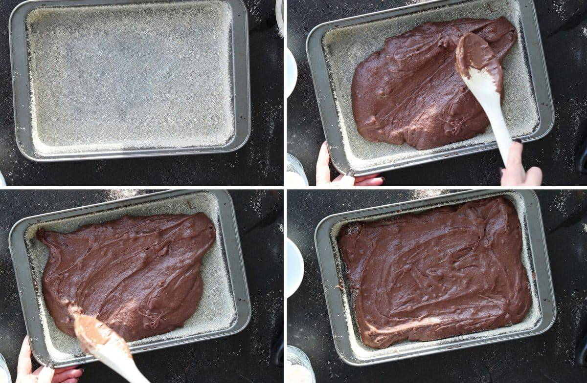 process shot of making brownies with cocoa powder - step 5