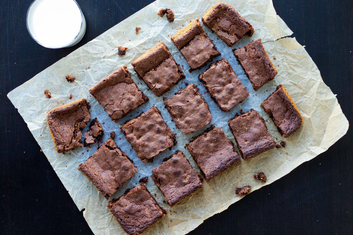 top view of brownies with cocoa powder