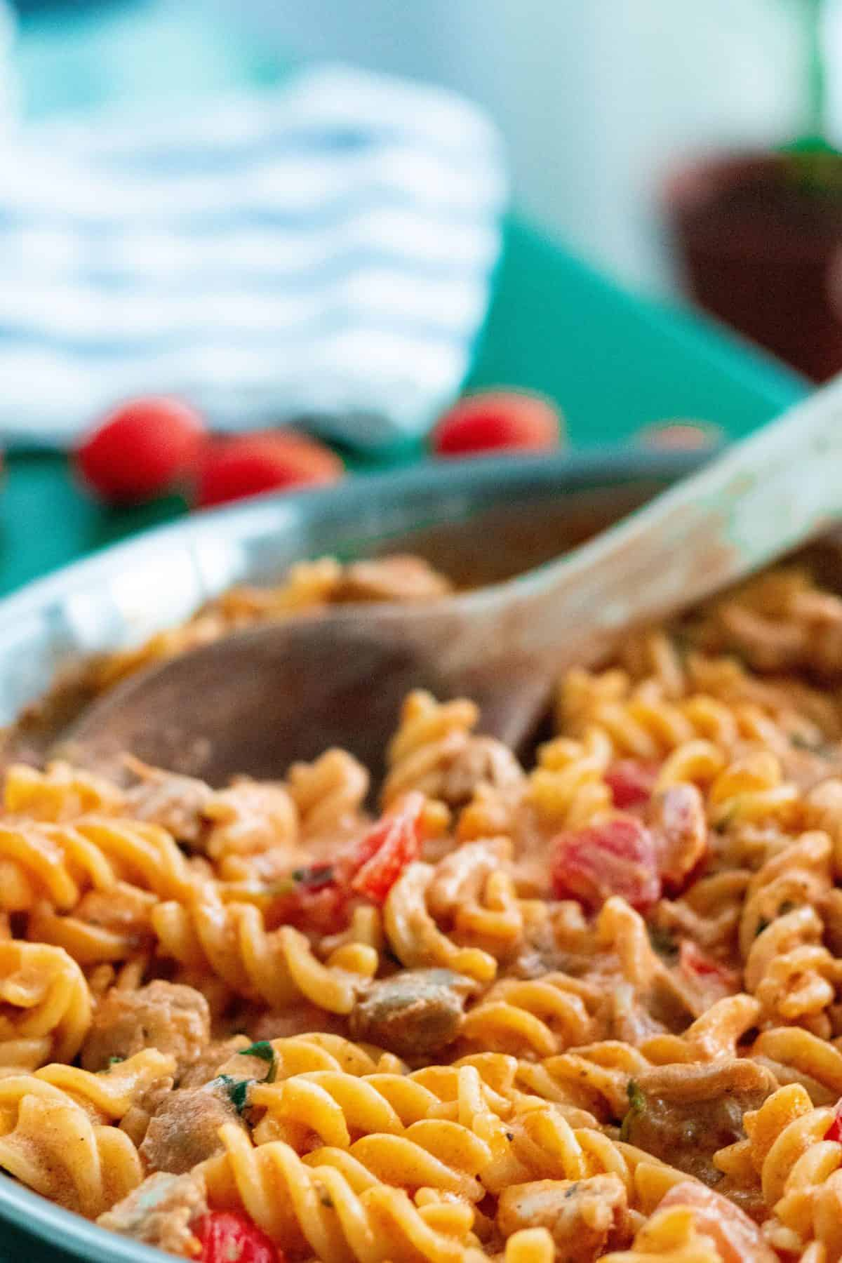 close-up of creamy chicken pasta