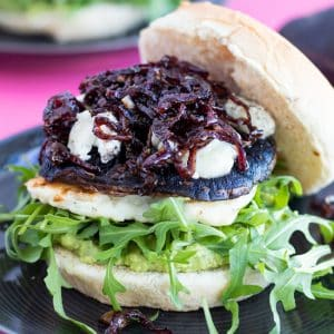 portobello mushroom burger with halloumi and caramelized onions