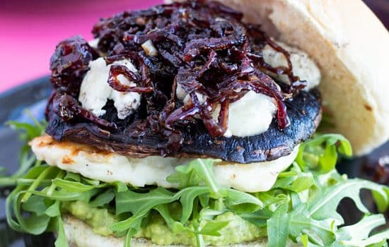 Portobello Mushroom Burgers with Halloumi & Caramelized Onions
