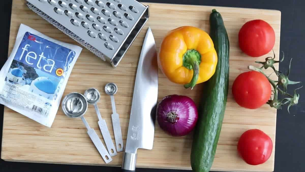 ingredients and tools for shopska salad