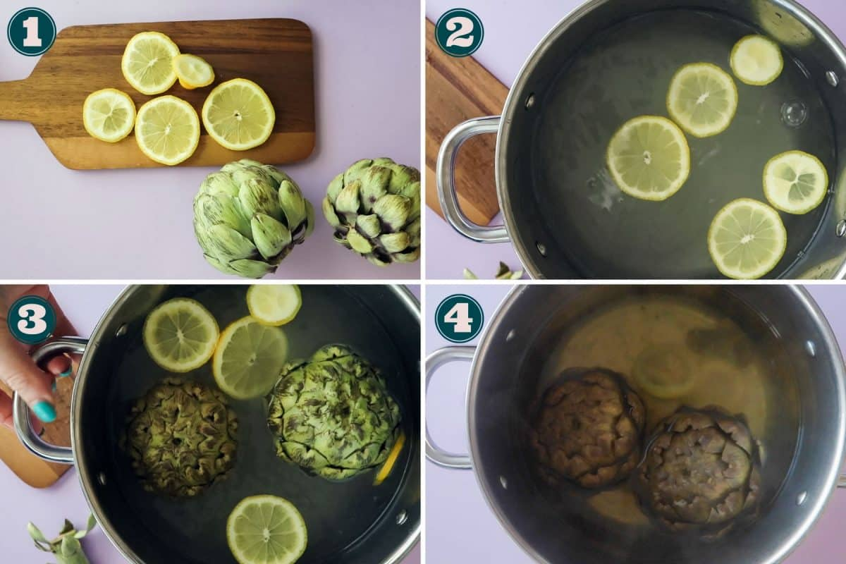process shot - how to boil artichokes