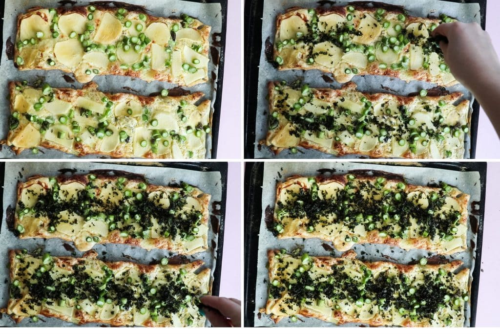 process shot - topping the finished puff pastry pizza with kale chips