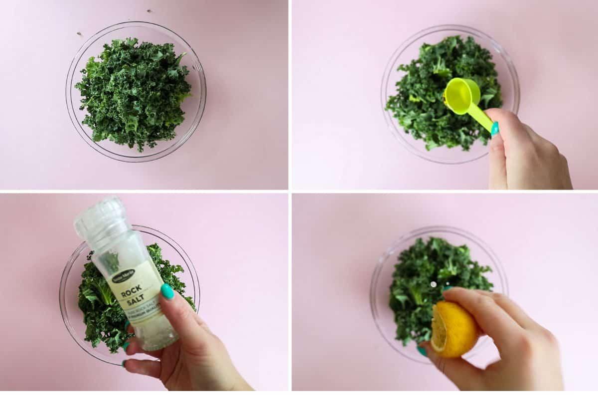process shot - seasoning kale for kale chips