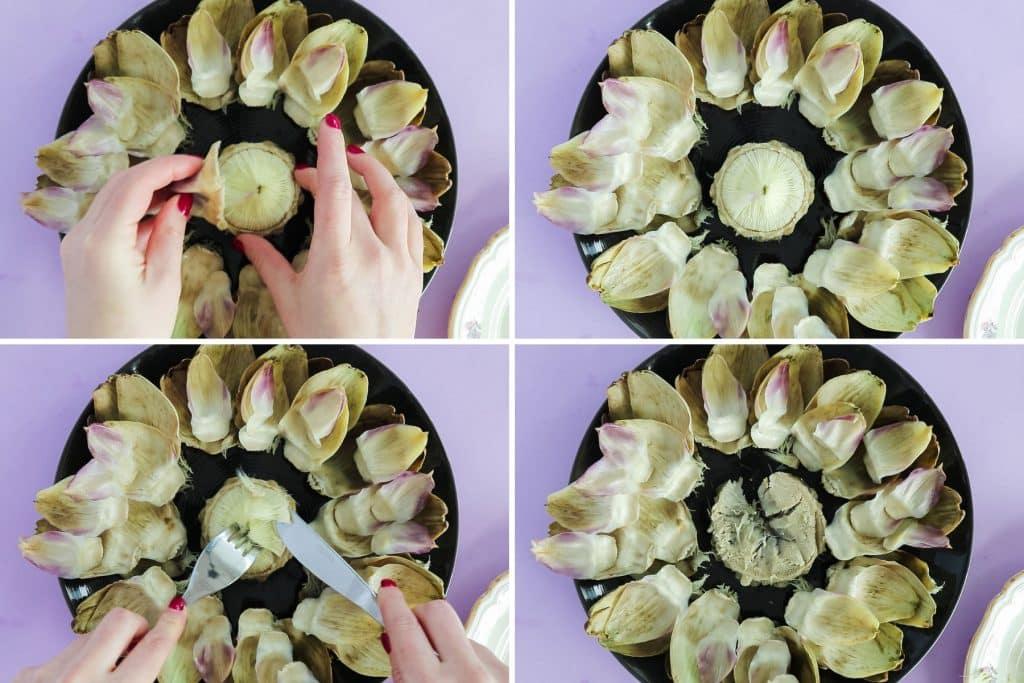 process shot - how to eat artichokes