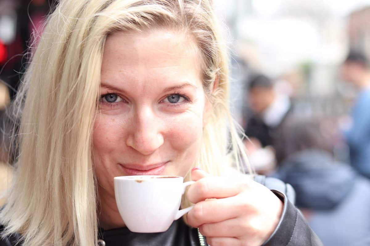 picture of Emmeline Kemperyd creator of always use butter drinking a cup of Turkish coffee