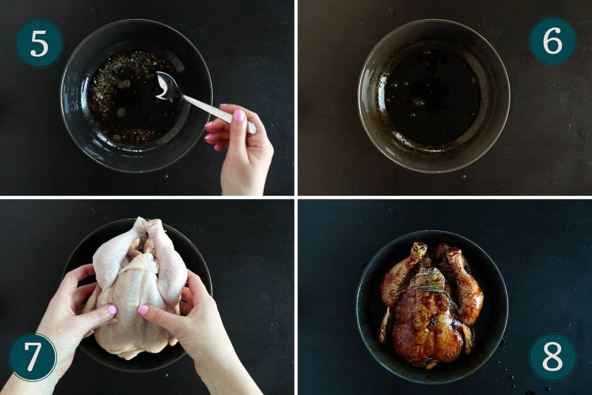 process shots showing how to mix the marinade and cover the chicken in it