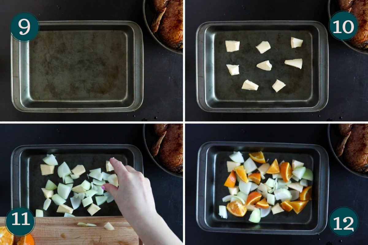 process shots showing how to prep the roasting tray with butter, onion and oranges