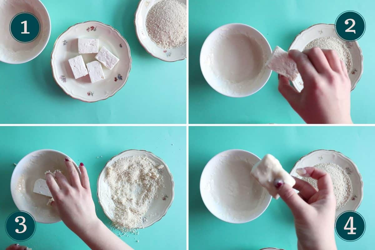 4 step by step pictures showing how to coat pieces of feta cheese in milk & flour mixture