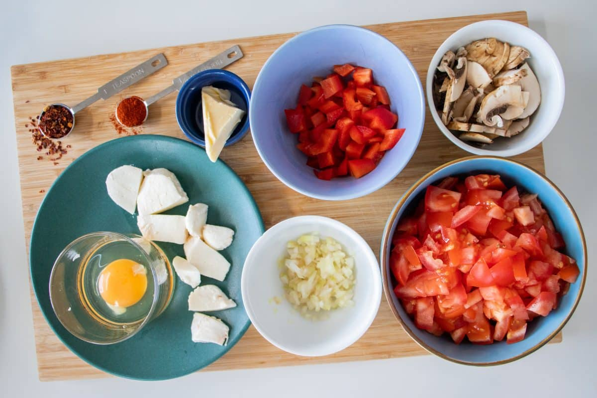 prepped ingredients for shakshuka for one