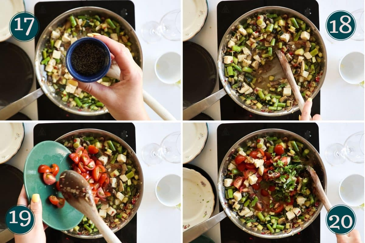 process shots showing black pepper, tomatoes and spring onion being added to a pan with vegetables and halloumi