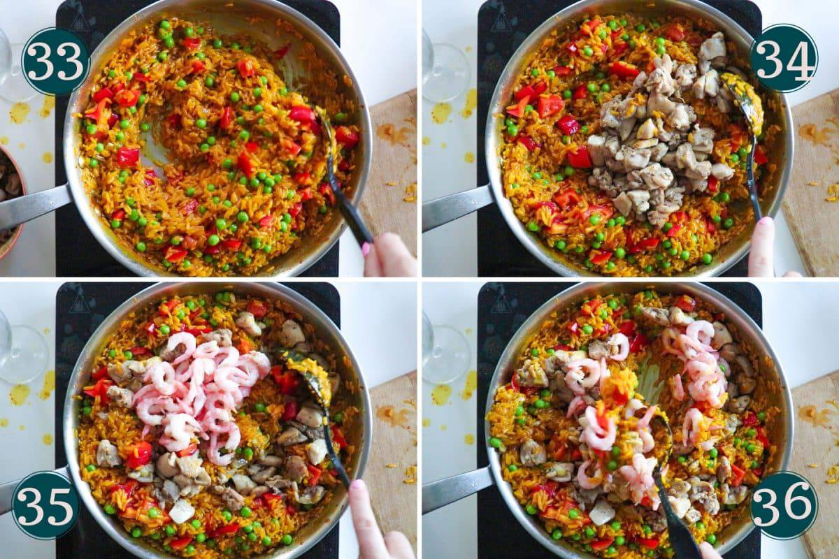process shot showing step 33-36 of making paella: mixing and adding chicken and shrimp