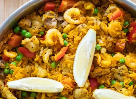 Paella with Chicken & Shrimp [gluten free]