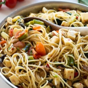 closeup sideview of pasta primavera