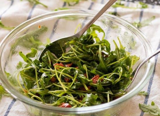 Arugula Salad with Sun-dried Tomatoes & Honey Lemon Vinaigrette