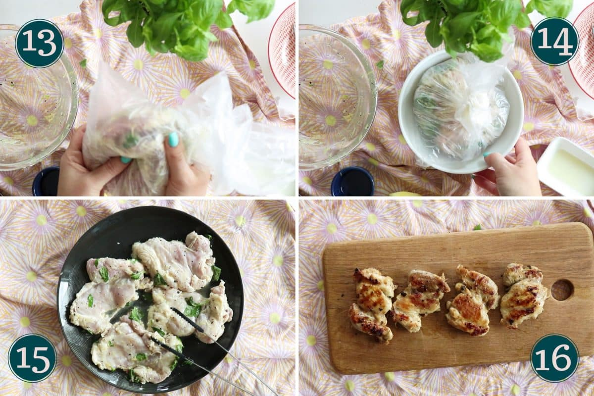 process shots showing chicken and marinade in plastic bags, how the chicken looks after marinating and after grilling